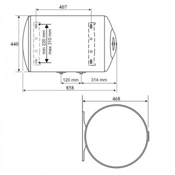 Водонагреватель Tesy Anticalc 80 л сухой ТЭН 2х1,2 кВт (GCH804424DB14TBR)
