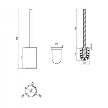 Ершик для унитаза Q-tap Liberty ANT 1157-1 Золотистый (SD00040053)