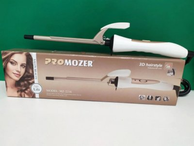 Плойка для волос ProMozer Mz-2216 с зажимом для накрутки волос для создания локонов и объёма 35 Вт Белая (11967)