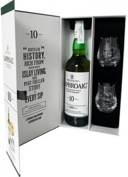 Виски Laphroaig 10 лет выдержки 0.7 л 40% + 2 дегустационных бокала (5010019639974)