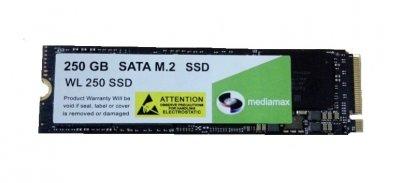 Накопитель SSD 250GB Mediamax M.2 2280 NVMe PCIe 3.0 x4 3D NAND TLC Black (WL 250 SSD Black) Refurbished наработка до 1%