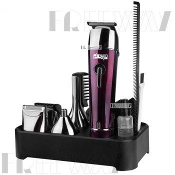 Триммер стайлер для стрижки волос и бороды профессиональный аккумуляторный беспроводной 5в1 DSP Red (F-90030)