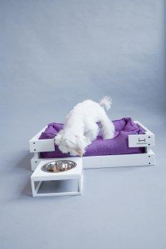 Підставка на одну миску для собак і кішок Harley and Cho M 0.75 л White Wood + White (3102815)