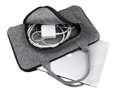 Фетровий чохол-сумка Gmakin для MacBook Air/Pro 13.3 сірий з ручками (GS01) Gray