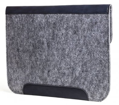Фетровый чехол-конверт Gmakin для Macbook New Air 13 (2018-2020) серый+синий (GM59-13New) Gray+Blue