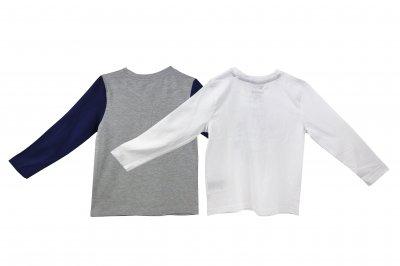 Кофточка лонгслив для мальчика набор 2 шт LUPILU серый-белый WE-110116