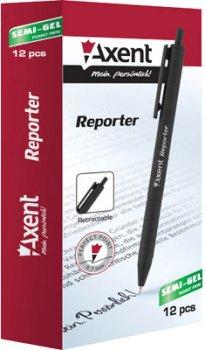 Набор ручек Axent Reporter автоматических масляных Черных 0.7 мм Черный корпус 12 шт (AB1065-01-A)