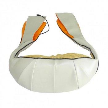 Массажер роликовый с функцией инфракрасного теплового воздействия Massager of neck kneading для всего тела 4 кнопки Бежевый (11150-S1)
