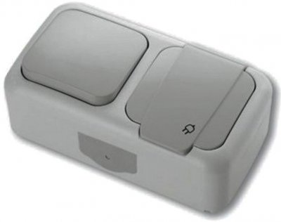 Розетка с заземлением и одинарным выключателем VIKO Palmiye серый (90555581)