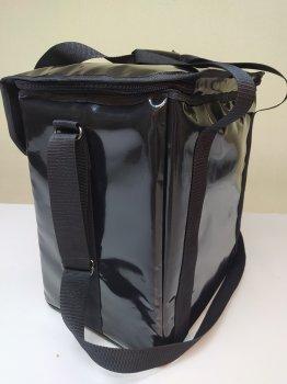 Термосумка з ПВХ для кур'єрської доставки їжі, напоїв на блискавці під клапаном. Dolphin 35x25 см Чорна