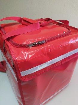ПВХ рюкзак для доставки їжі піци суші з горизонтальною + вертикальним завантаженням. Каркас. Dolphin 43x43 см Червоний