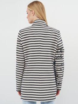 Пальто Desigual 72E2EK3/5001 Біле в синю смужку