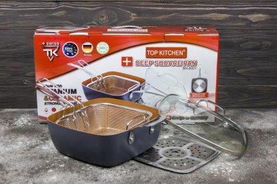 Сковородка-фритюрница пароварка с крышкой TOP KITCHEN BN-8001 Black