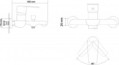 Смеситель для ванны RJ Fly RBZ084-3W с душевым гарнитуром