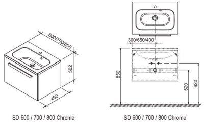 Тумба под умывальник RAVAK SD 700 Chrome X000000532 белый