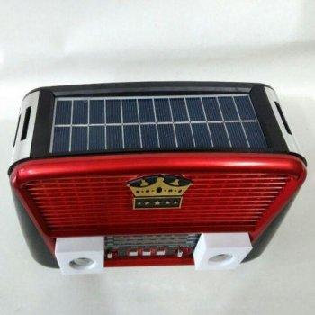 Портативна колонка MP3 USB Golon RX-455S Solar з сонячне панеллю Black-Red (TRS162)