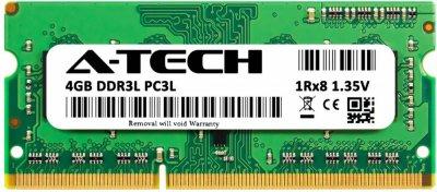Оперативная память A-Tech 4GB DDR3L-1600 (PC3L-12800) SODIMM 1Rx8 (AT4G1D3S1600NS8N135V)