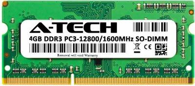 Оперативная память A-Tech 4GB DDR3-1600 (PC3-12800) SODIMM 1Rx8 (AT4G1D3S1600NS8N15V)