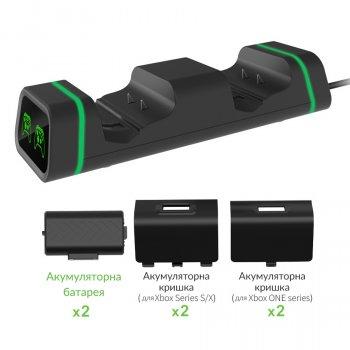 Подвійна зарядна док станція DOBE підставка для двох геймпадів Microsoft Xbox Series S,X / Xbox One X / Xbox One S / Xbox One c LED індикаторами статусу зарядки джойстика