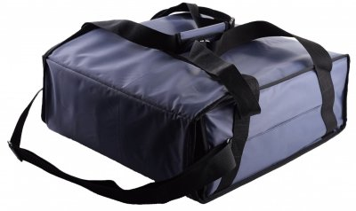 Термо сумка Dolphin для піци горизонтального завантаження на липучках, на 3-4 коробки 42*42. Темно — синя