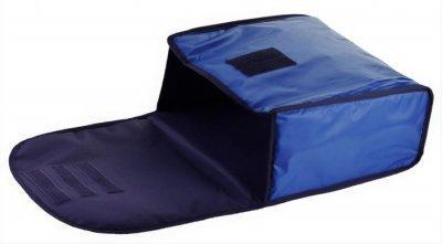 Термо сумка з вкладишем «конверт» для піци Dolphin горизонтального завантаження, на 3-4 коробки 32*32. Темно — синя