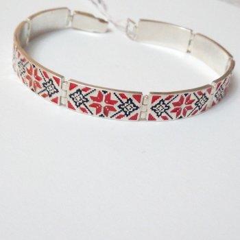 Браслет из серебра с красной эмалью Вышиванка, 20 размер, 0225.08