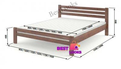 Ліжко дерев'яне двоспальне 180х200 Прем'єра Wellmebely сосна Бук Л6