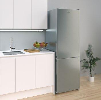 Холодильник с нижн. мороз. камерой CANDY CVBNM6182XP/SN, 186х60х60см, 2 дв., Х- 231л, М- 87л, A+, NF, Нерж