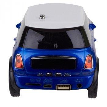 Колонка-машинка mini Cooper (Міні Купер) WS-588 (FM / USB / TF) з функцією зарядки телефону, синя