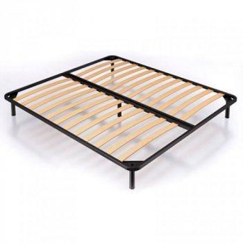 Ліжко двоспальне з металевим каркасом і м'яким узголів'ям з ДСП і ДВП 160х190 Ніка оббивка тканина синій Eurosof (без матраца і ніші)