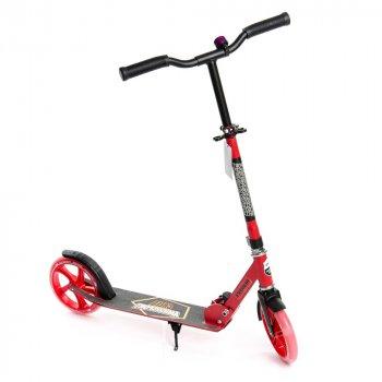 Двухколесный складной самокат CREED Explore, с подножкой и звонком, подсветка колес, диаметр колес 200 мм, красный