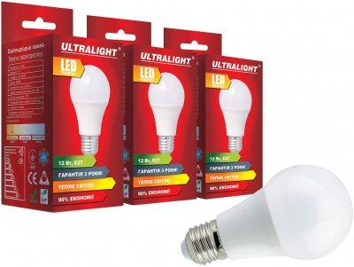 Світлодіодна лампа Ultralight LED A60 12W 3000K E27 (UL-51884) 3 шт.