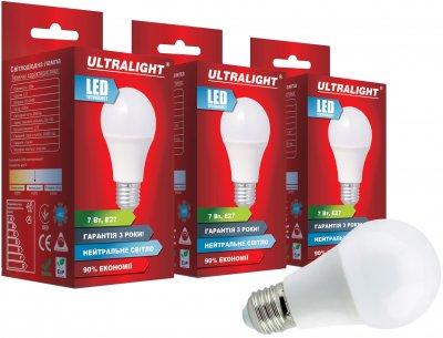 Світлодіодна лампа Ultralight LED A60 7W 4100K E27 (UL-51886) 3 шт.