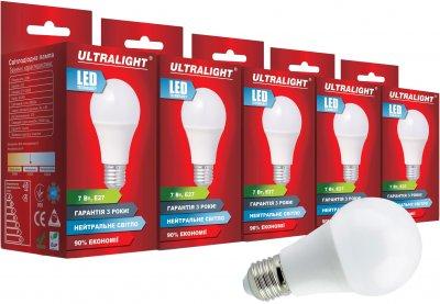 Світлодіодна лампа Ultralight LED A60 7W 4100K E27 (UL-51887) 5 шт.