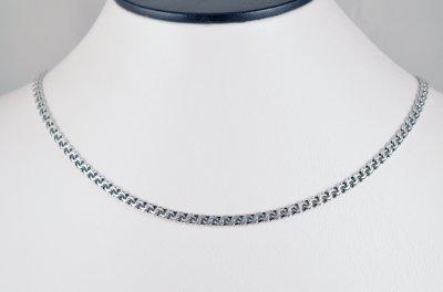 Срібна ланцюжок Meridian 925 проби Плоский-плоский бісмарк в чорнінням 55 розмір (5122/11550)