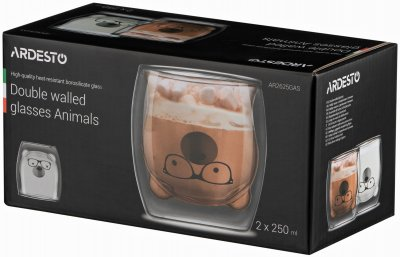 Набор чашек Ardesto Animals с двойными стенками 250 мл 2 шт (AR2625GAS)