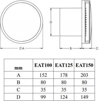 Витяжний вентилятор Europlast EAT125S з кульковим підшипником срібло