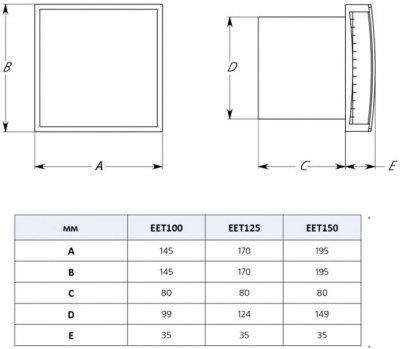 Вытяжной вентилятор Europlast EET100HTA с датчиком влажности и таймером антрацит