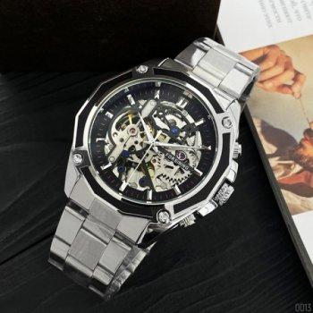 Мужские механичиские часы Forsining Silver наручные классические на стальном браслете + коробка (1059-0013)