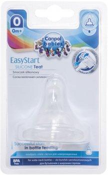 Соска силиконовая для бутылочек с широким горлышком Canpol Babies EasyStart Мини с рождения 1 шт (21/719)