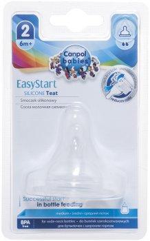 Соска силиконовая для бутылочек с широким горлышком Canpol Babies EasyStart Средняя с 6 месяцев 1 шт (21/721)