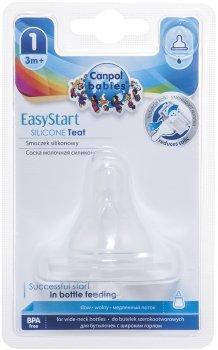 Соска силиконовая для бутылочек с широким горлышком Canpol Babies EasyStart Свободная с 3 месяцев 1 шт (21/720)
