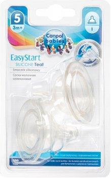 Соска силиконовая Canpol Babies EasyStart 3-х позиционная до бутылочек с широким отверстием 2 шт (21/734)