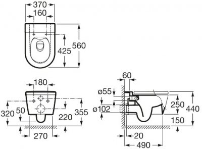 Унітаз підвісний ROCA Inspira Round Rimless A346527000 без сидіння