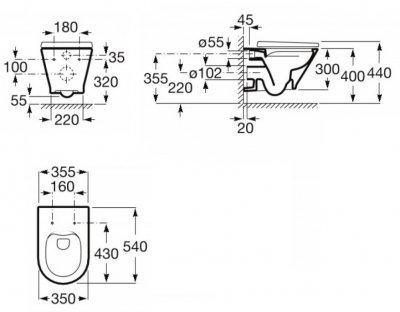 Унітаз підвісний ROCA Gap Round Rimless A34H0N8000 зі сидінням Slim Soft Close