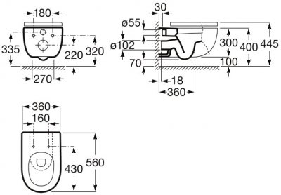 Унітаз підвісний ROCA Meridian Rimless A34H240000 зі сидінням Soft Close