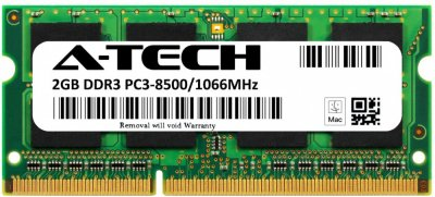 Оперативная память A-Tech 2GB DDR3-1066 (PC3-8500) SODIMM 2Rх8 (AT2G1D3S1066ND8N15V)