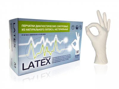 Перчатки медицинские латексные M НЕопудренные, Mediok, 1 штука