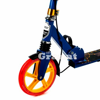 Двоколісний складаний самокат SUCCESS NEW Explore, з підніжкою і дзвінком, підсвічування коліс, діаметр коліс 200 мм, блакитний