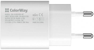Сетевое зарядное устройство ColorWay Power Delivery Port PPS USB Type-C (25W) White (CW-CHS033PD-WT)